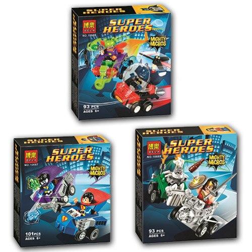 Bevle 10667 10668 10669 Bela DC Super Hero Mighty Micros Bizarro Moth Doomsday Building Block Bricks Batman 76068 76069 76070 конструктор lego super heroes 76069 mighty micros бэтмен против мотылька убийцы