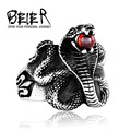 BEIER Cobra Red Stone Snake Ring Factory Price Stainless Titanium Steel Punk Heavy Metal Animal Jewelry BR8-216