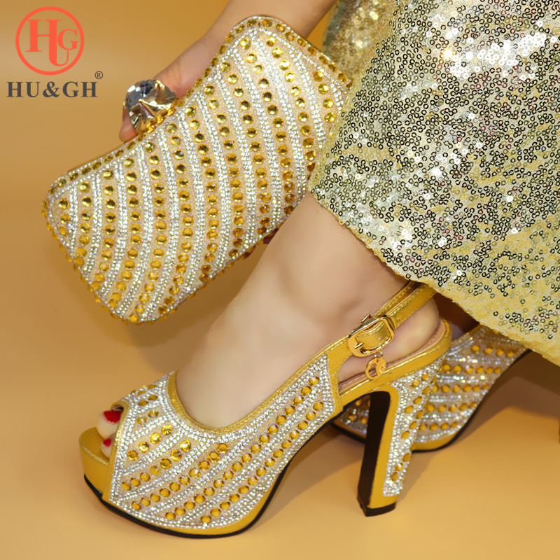 New African Elegant Gold Color Shoes And Bag To Match Set Nigerian Italian High Heels Party