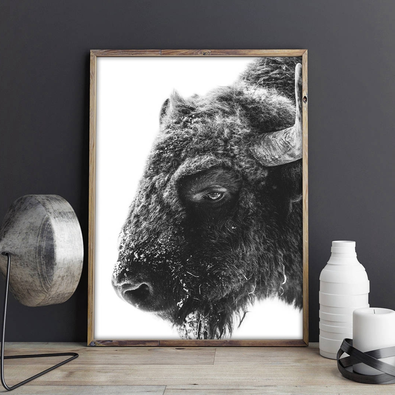 Modern Animal Buffalo Canvas Art Print And Poster , Bison Canvas Printing Wall Picture Home Wall Art Decor
