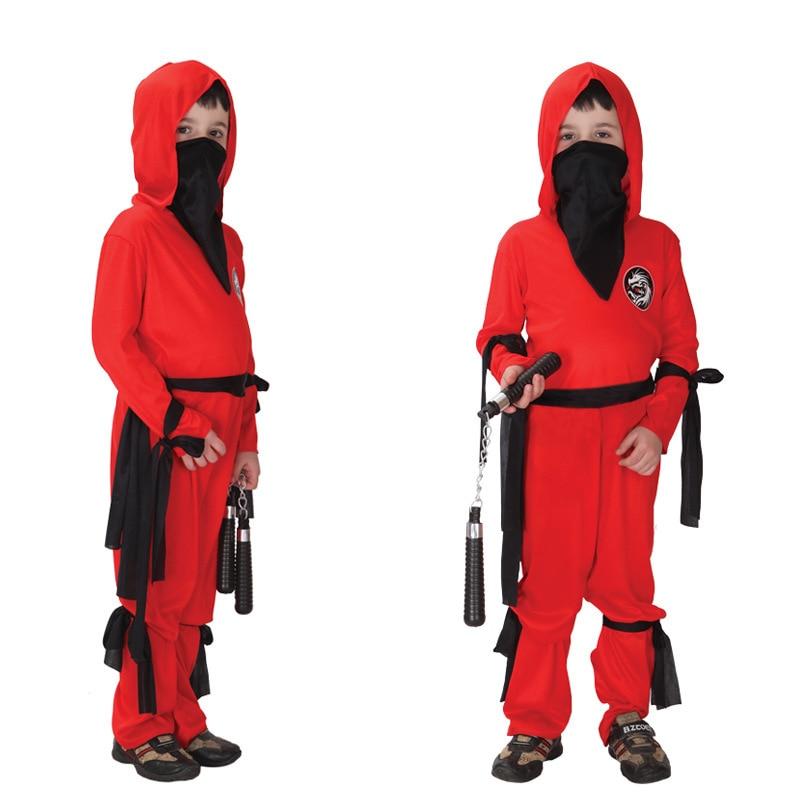 Doprava zdarma Red Kids Boys Naruto Ninja oblečení Halloween Vánoční maškarní strana Fancy Dress Děti Cosplay kostýmy