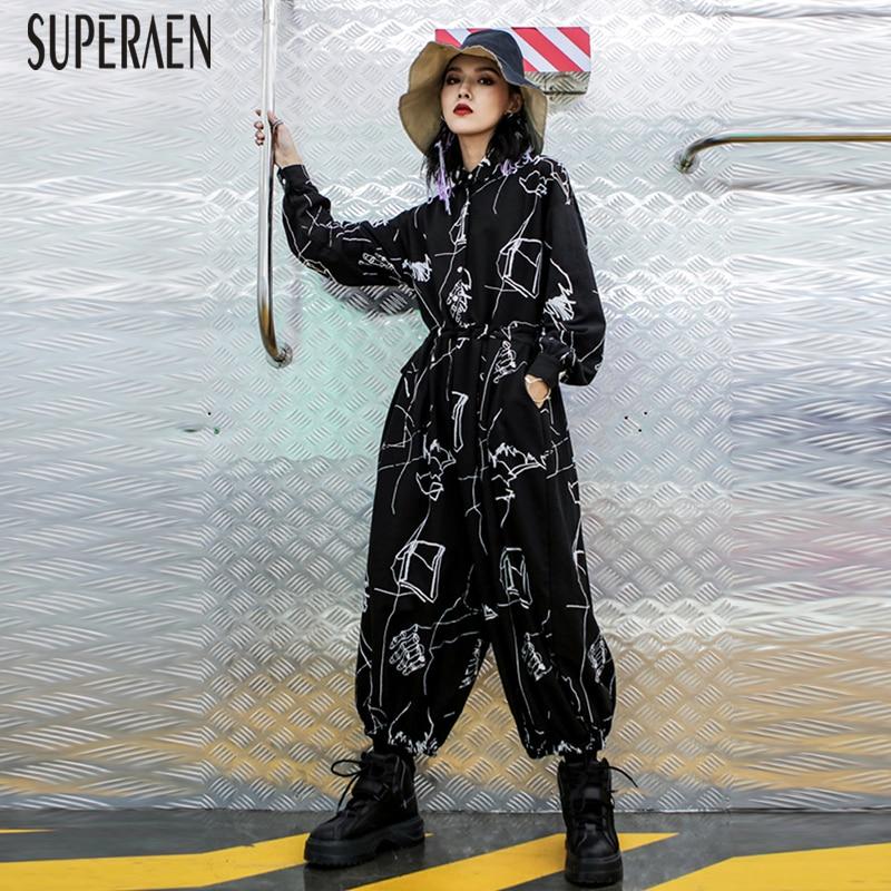 SuperAen Hohe Taille Overall Weibliche Herbst 2018 Neue Mode Baumwolle Damen Overalls Lose Breite Bein Hosen Beiläufige Frauen Kleidung-in Overalls aus Damenbekleidung bei  Gruppe 1