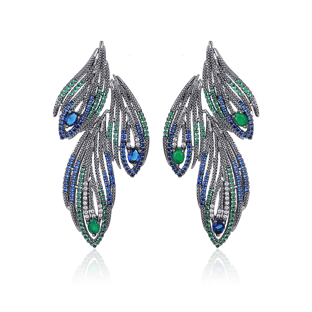 XIUMEIYIZU Newest High Quality Vintage Colorful Cubic Zirconia Romantic Feather Stud Earrings For Women