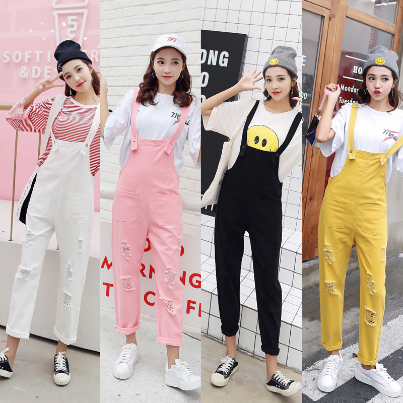 Spring Autumn Jean Overalls Ladies Loose Jeans Rompers Women Denim   Jumpsuit   Casual Hole Black/White/Pink/Yellow   Jumpsuit   Pockets