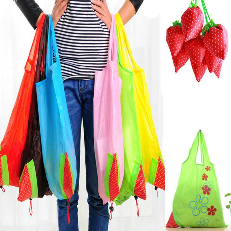 New Nylon Foldable Reusable Shopping Bags Strawberry Tote Eco Storage Handbag  Strawberry Grapes Pineapple Foldable Shopping Bag