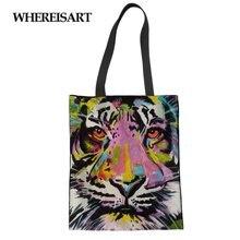 WHEREISART Eco-friendly Canvas Shopping Bag Casual Reusable Folded Shoulder Ladies Women Tiger lion Print Linen Laige Tote