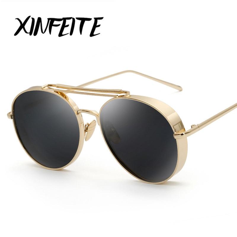 587fcaa728 XINFEITE 2017 Brand Designer Metal Steampunk Sun Glasses Men Women Fashion  Vintage Aviator Sunglasses Coating Mirrored Oculos