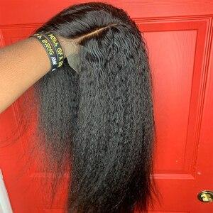 Image 1 - Parrucche per capelli umani anteriori in pizzo dritto crespo ALICE nodi sbiancati brasiliani senza capelli Remy Glueless 13*4 con capelli per bambini densità 130%