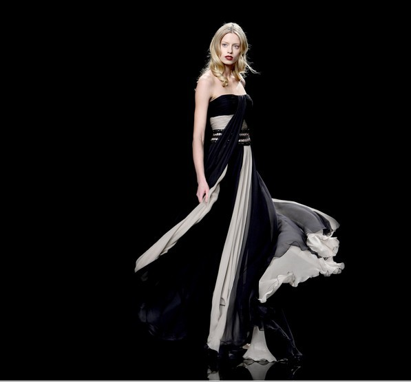 free shipping 2014 new fashion vestido de festa formal dress white and black long sweetheart elegant party gown evening dresses