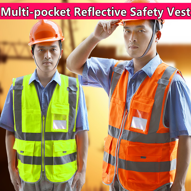 SPARDWEAR Reflective Safety Vest Printing Logo Construction Multi Pockets Print Free Shipping In Clothing From