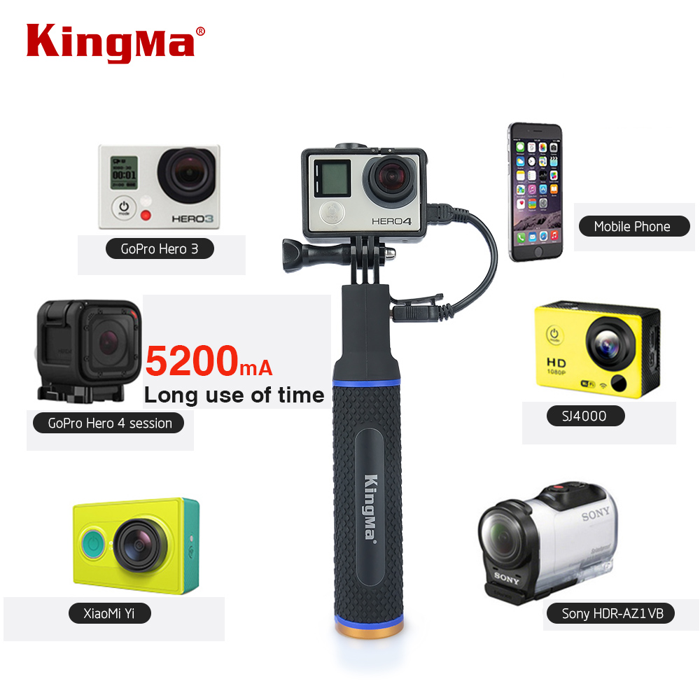 KingMa Handheld Power Hand Grip Portable Rechargeable Holder Handle Charger for Mobile Phone GoPro session4/3/3+ XiaoMi Camera-in Sports Camcorder Cases from Consumer Electronics
