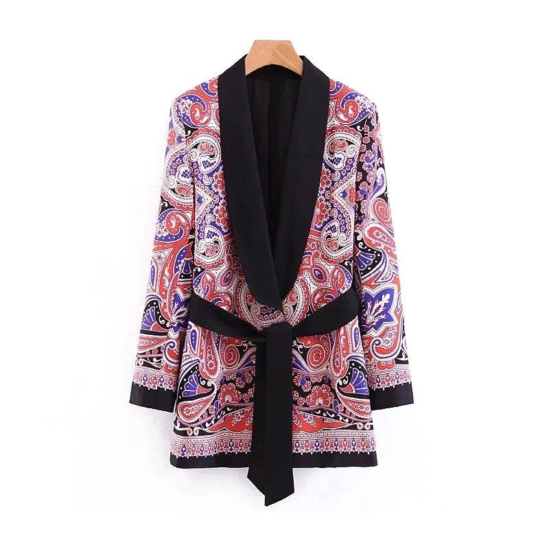 Floral Print Women Twill Blazer 2019 Spring-Autumn Chic Cardigan Suits Belt Womens Boho Blazers Ladies Kimono Coats Girls Tops