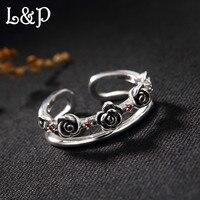 L & p Тайский чистого серебра 925 Серебряное кольцо для Для женщин, винтаж натуральное розовое Регулируемый Кольца Jewel для оптовой подарок на д...