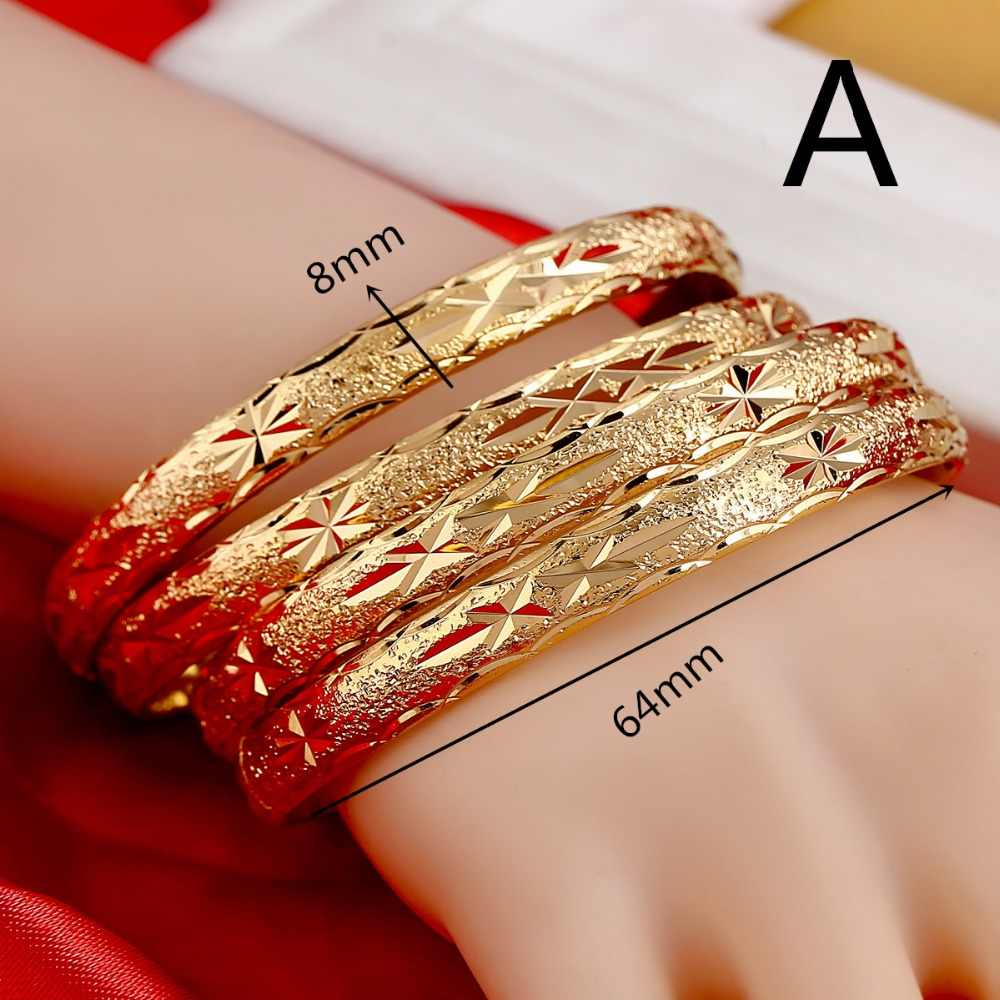 Openable Dubai Gold Bangles 64mm*8mm Width Women Men 1pcs Gold Bracelets African European Ethiopia Girls Bride Bangles Gift