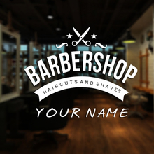 Man Barber Shop Sticker Name Bread Decal Haircut Shavers Posters Vinyl Wall Art Decals Decor Windows Decoration Mural
