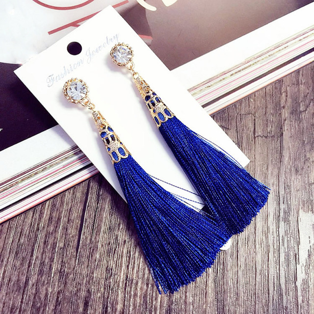New Vintage Crystal Tassel Dangle Earrings Bohemia Earring For Women Jewelry Gift Long Pendant Drop Earring