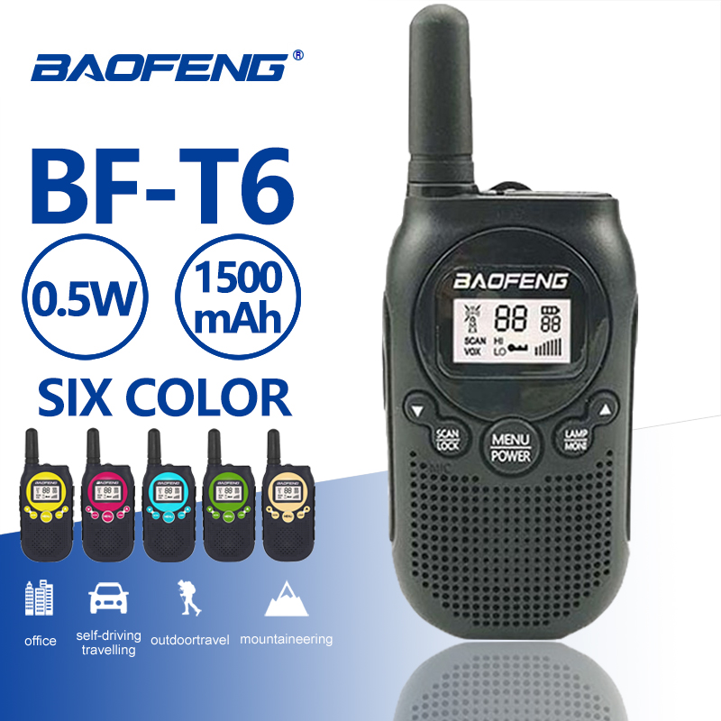 2019 New Baofeng T6 Mini Walkie Talkie 0.5w FRS PMR Handheld Two Way Radio Kids Toy Interphone Ham Radio Comunicador Transceiver