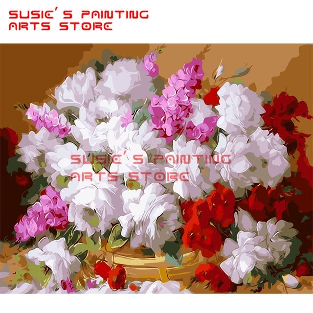 Gardenias Flores DIY Pintura Por Números en la Lona Pintura Home ...