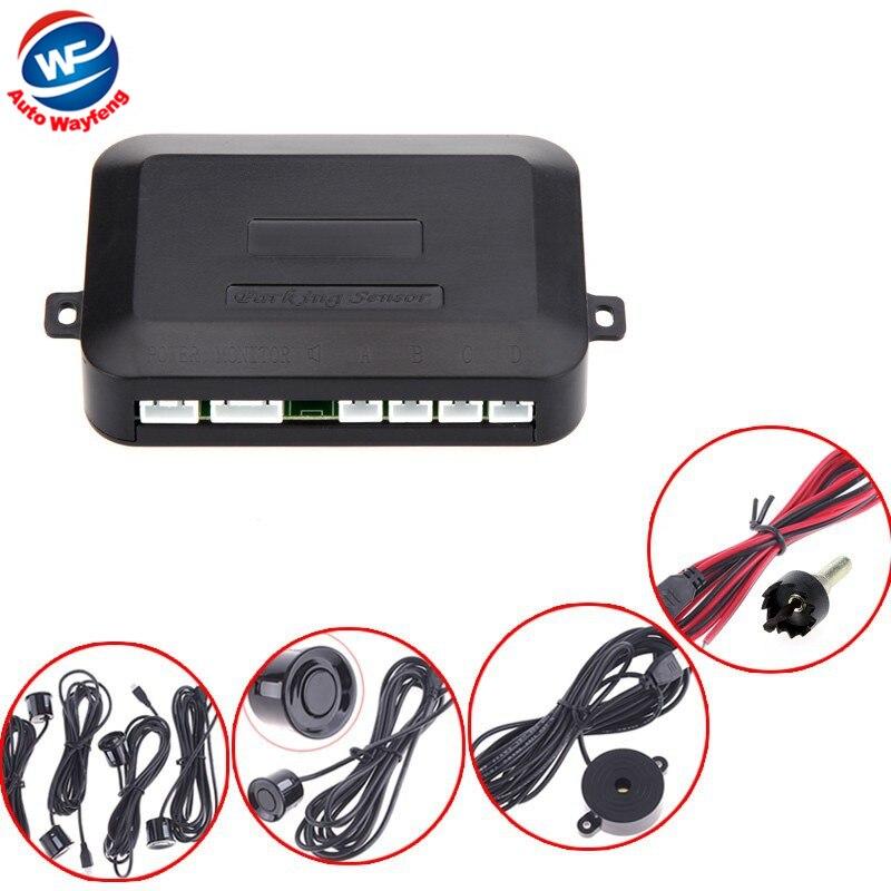 Free shipping 12V Car Parking sensor system Reverse Backup Radar Sound Alert + 4 Sensors silver or Black Wholesale