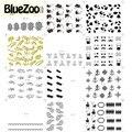 BlueZoo 12 Цветов/пакет Черный Белое Золото Наклейки На Ногти Искусство Наклейки Перо Кружева Ногтей Искусство Украшения Ногтей Наклейки Советы По красоте