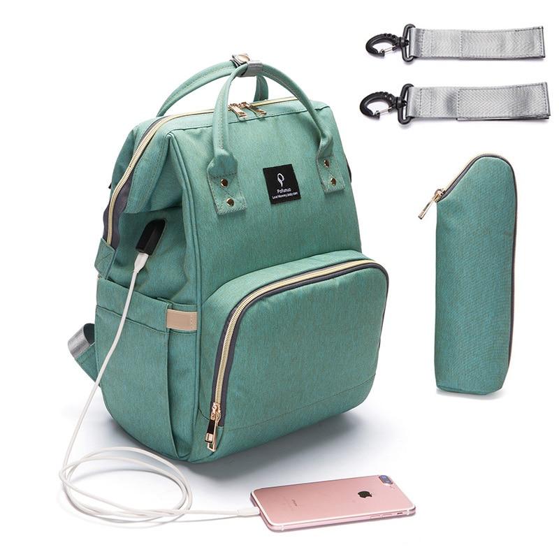 2018 bolsa de pañales con interfaz USB de gran capacidad impermeable bolsa Kits de momia maternidad mochila de viaje de bolso