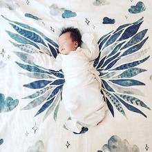 Baby Blankets Newborn Letters Crown Muslin Wrap Toddler Swaddle Multifunctional Gauze Kids Decorative Bedding Blanket