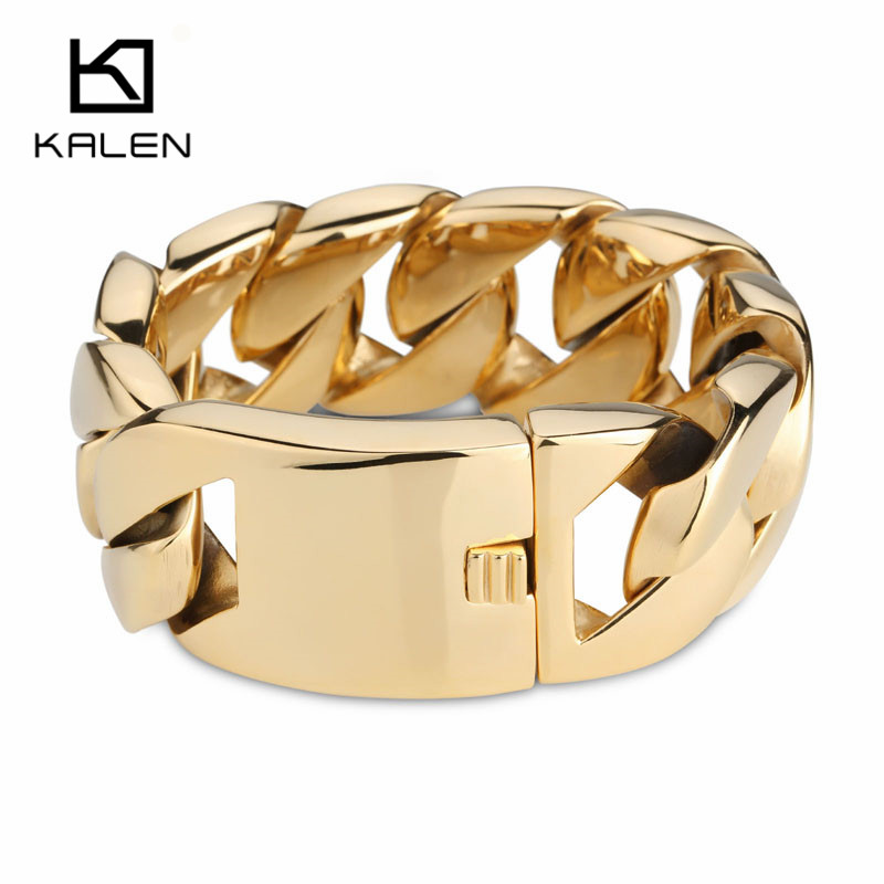 Image 3 - Kalen High Quality 316 Stainless Steel Italy Gold Bracelet Bangle Men's Heavy Chunky Link Chain Bracelet Fashion Jewelry Gifts-in Chain & Link Bracelets from Jewelry & Accessories