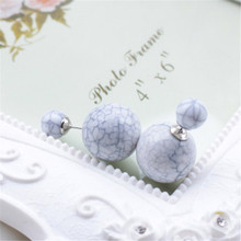 2017 New Brand Double Sided Earring Women Cracked Ball Stud Earring Fashion Boho Colorful Balls Ear Piercing Jewelry Gift