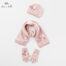 DB5719 dave bella ragazze di inverno Guanti Sciarpa cappello floreale gatto tessile