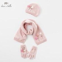 DB5719 dave bella Зимняя перчатка для девочек, шарф, Цветочная шапка, текстиль для кошек