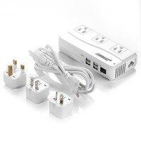BESTEK Conversor De Voltagem de Viagem Com Porta USB 6A 4 Portas USB E REINO UNIDO/AU/EUA/UE de Viagem adaptador de Energia Tira Tomada De Energia Portátil