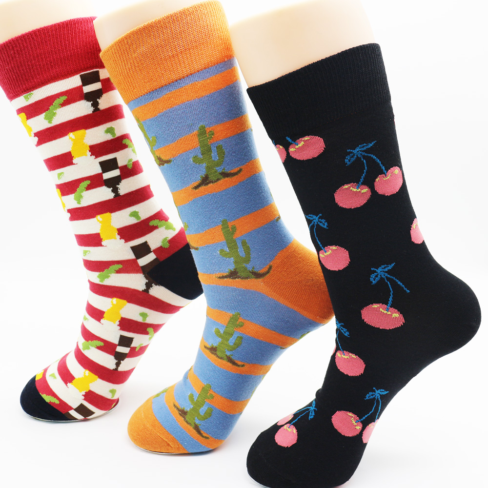 New Fashion High Quality Mens Long Cotton Socks Brand Fun Casual Business Socks (3 pairs)