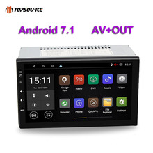 TOPSOURCE Universal 7 2 din Car DVD Player Rds Radio GPS Navigation WIFI Bluetooth Android 7.1 Quad Core 1G/16G 1024*600