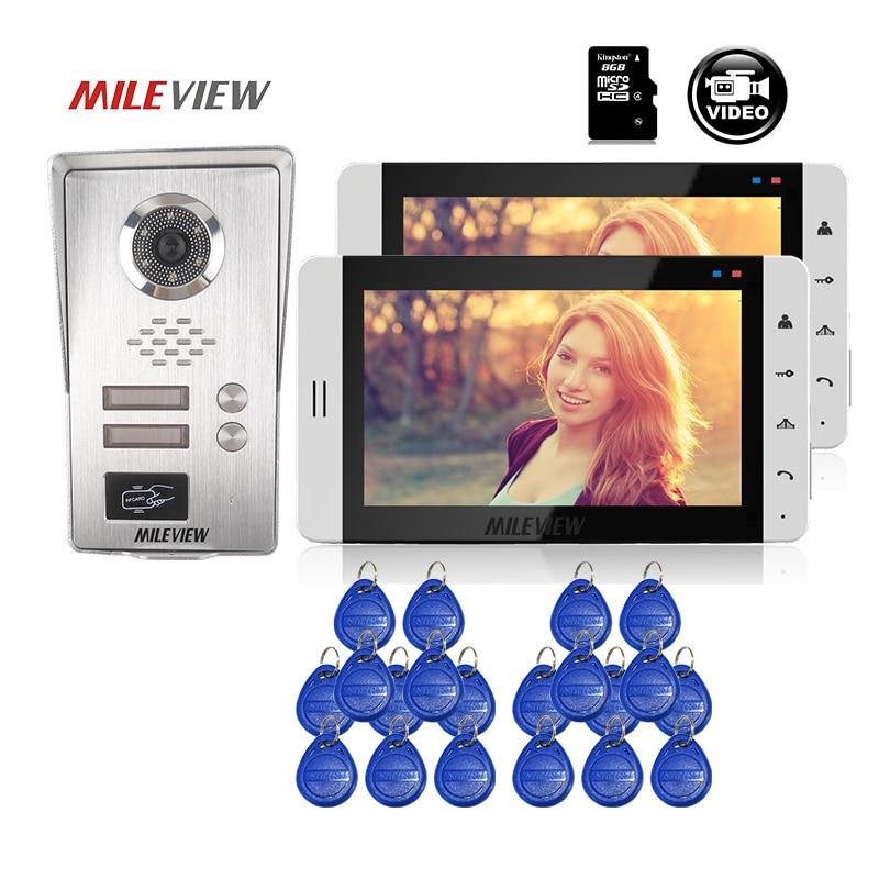 LIVRAISON GRATUITE 7 blanc LCD Écran Vidéo Porte Téléphone Interphone 2 Record Moniteurs + Étanche RFID Sonnette Caméra pour 2 Appartement