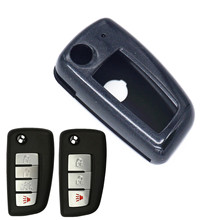WFMJ Colorful Paint Plastic Remote Flip 3 4 Buttons Key Case Shell Cover Chain Fob for 2014 2015 2016 2017 2018 Nissan Rogue