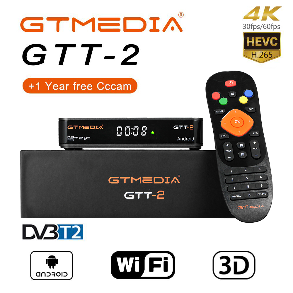 GTmedia GTT2 Android 6.0 TV box DVB-C DVB-T2 ISDB-T 2GB RAM 8GB Built-in WiFi memory 2.4G Amlogic S905D 4 K H.265 IPTV TV Box(China)