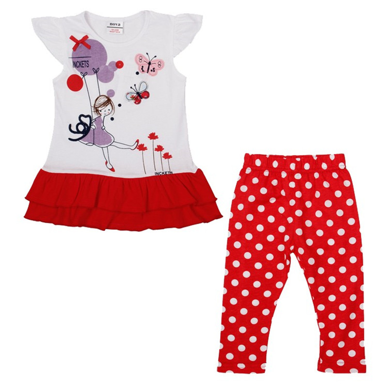 HG4825 retail red 24m-6y baby girl clothes children girl sets dress and pants carton summer sets free shipping 2018 new arrival