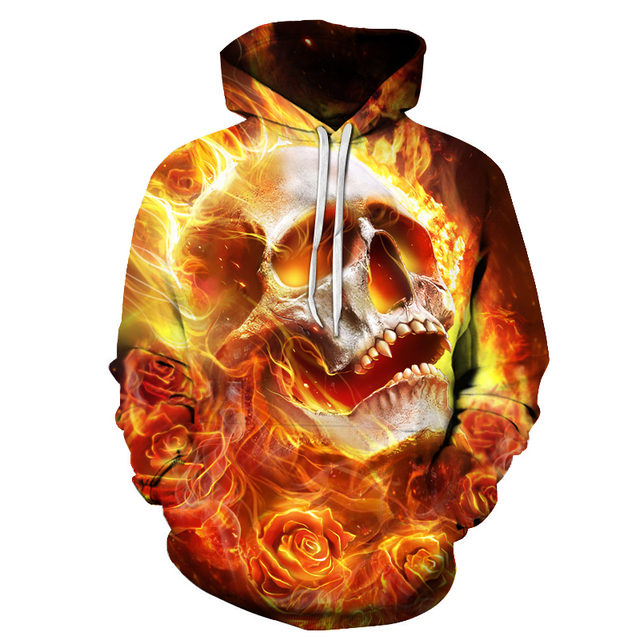 bab54766655f 2018 Brand Clothing Flame Skull Printed Hoodies 3D Men Women Fashion Sweatshirts  Supreme Sportswear Hip Hop Tracksuit