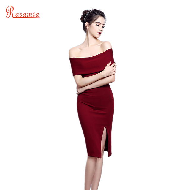 96454e4d38 Women Off Shoulder Dark Red Bodycon Party Dresses Black Slim Prom Formal  Gowns Slit Knee-length Robe Sexy Night Club Dress GQ811