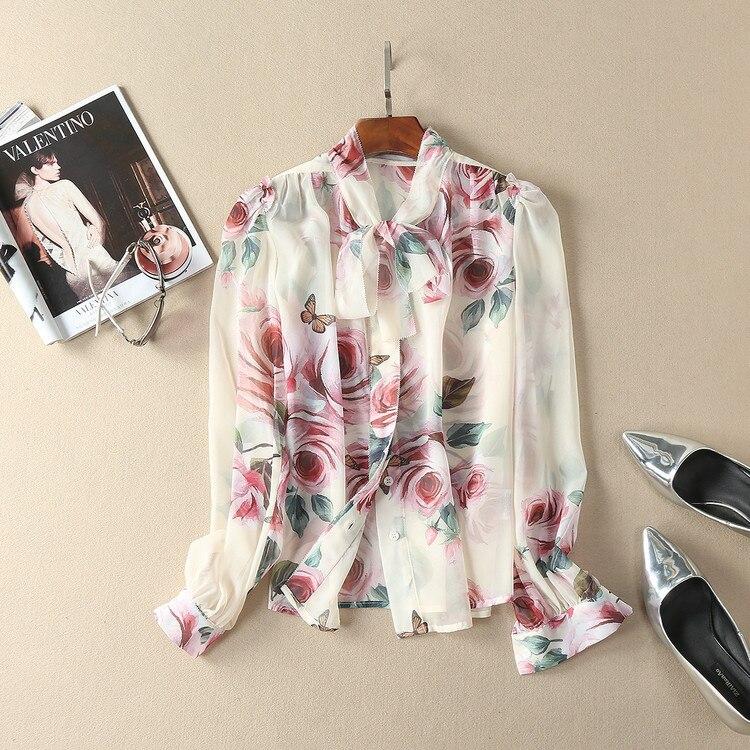 Hauts de piste 2018 printemps femmes élégant à manches longues imprimé Floral Bow soie mousseline de soie Blouse coréenne chemise femmes