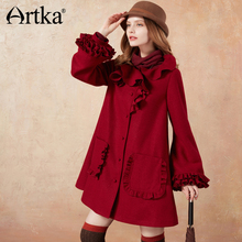 Women Coat Wool Sleeve