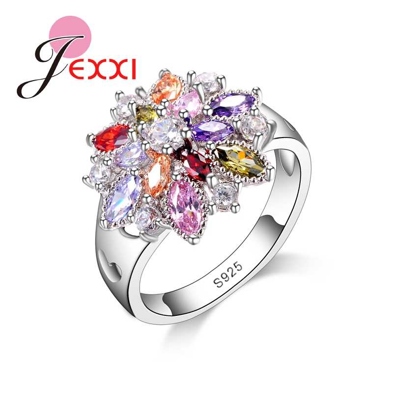 Girls Bling Jewelry Finger Accessories Fashion 925 Sterling Silver Colorized Flower Shape Rings Wholesale