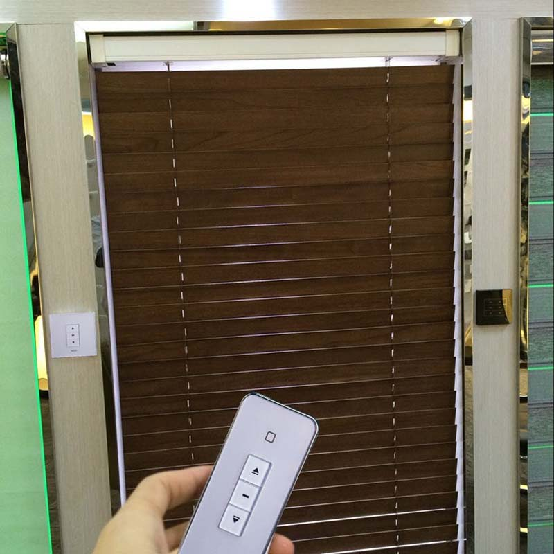 Motorized wooden venetian blinds size customized free shipping electric wooden blinds wifi control acceptable