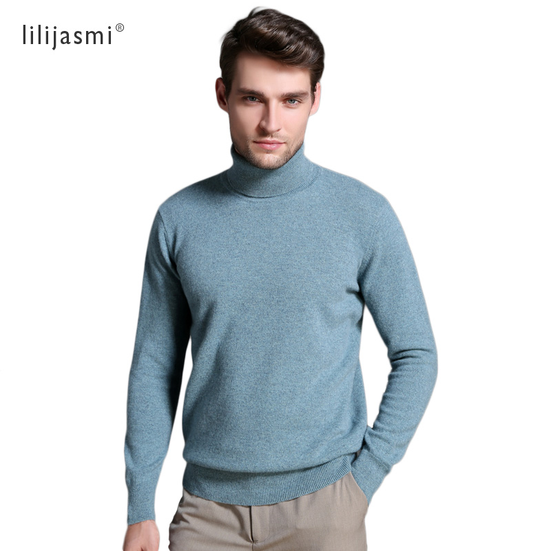 New Hot Selling Men's Turtleneck 100% Wool Sweaters Unique Solid Color Turn-down Collar Pullovers Au Merino Wool Jumpers