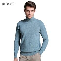 Nueva venta caliente de los hombres de cuello alto 100% suéteres de lana único Color sólido giro-abajo Collar de jerseys es de lana de Merino sudaderas