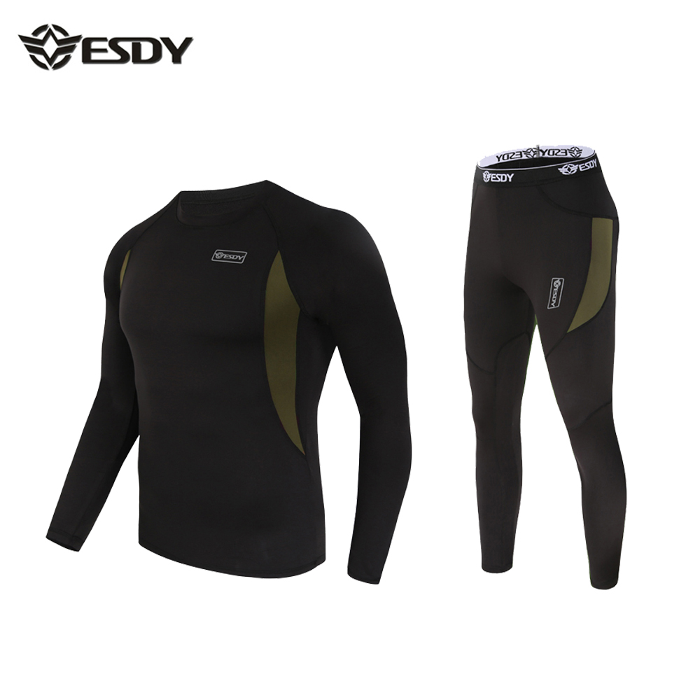 Men Thermal Underwear,ESDY Mens Outside Suit Tight Men Thermo Underwear Fleece Army Autumn-Winter
