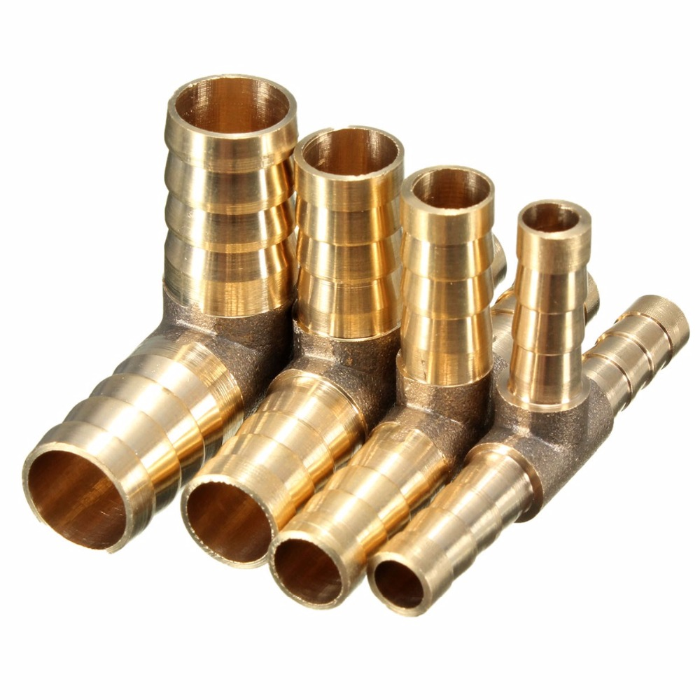 1Piece Brand New Car Motorcycle 6mm 8mm 10mm 12mm Brass T Piece 3 Way Fuel Hose Joiner Connector for Air Oil Gas
