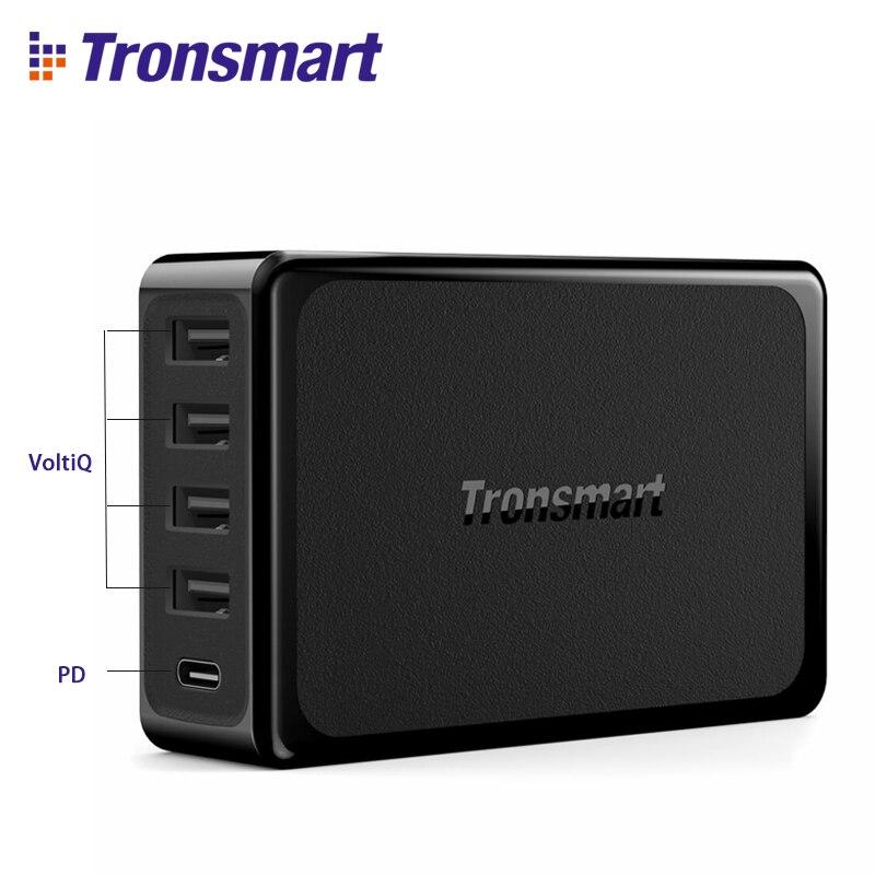 Tronsmart U5P 5-Port Carregador USB Carregador Rápido 60 W USB-C Entrega de Potência Carregador de Mesa para Samsung Galaxy S9, s9 Plus, iphone x