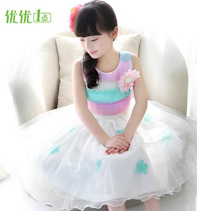 Girls dress summer wear children's wear children's princess 2016 han edition of the new dress qiu dong season with plush slippers female students in the summer of 2017 the new han edition joker fashion wears outside a word
