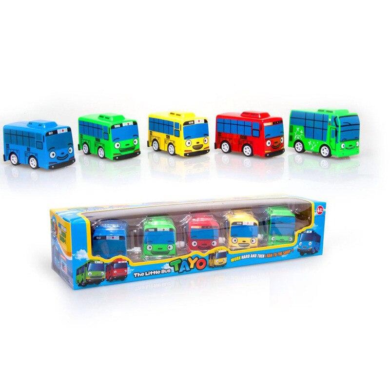 5pcs/1lot Korean Tayo The Little Bus Gani Lani Vehide Wind Up Car Toys Model Mini Plastic Tayo Bus Baby For Kids Brinquedo
